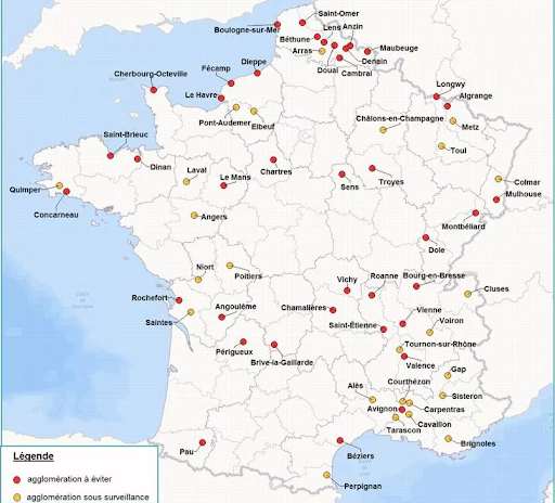 Carte des investissements Pinel à éviter en France